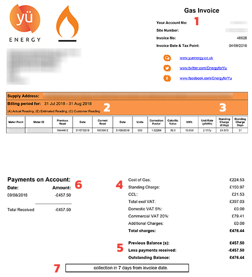 Example Business Gas Bill - Yu Energy